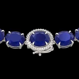 170 ctw Sapphire & VS/SI Diamond Halo Micro Necklace