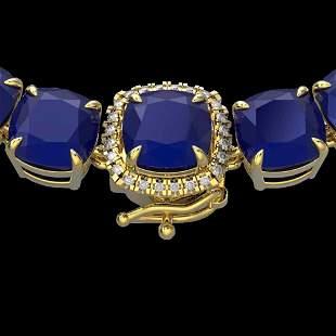 116 ctw Sapphire & VS/SI Diamond Halo Micro Necklace