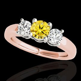 2 ctw SI/I Fancy Intense Yellow Diamond 3 Stone Ring