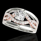 1.3 ctw Certified Diamond Solitaire Ring 10k 2Tone Gold