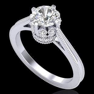 1.14 ctw VS/SI Diamond Art Deco Ring 18k White Gold -