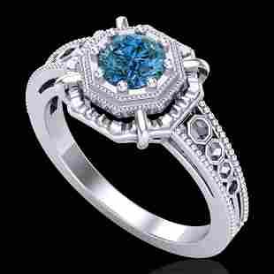 0.53 ctw Fancy Intense Blue Diamond Art Deco Ring 18k