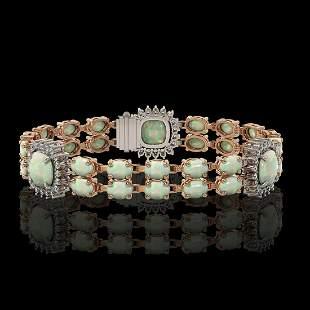 16.55 ctw Opal & Diamond Bracelet 14K Rose Gold -