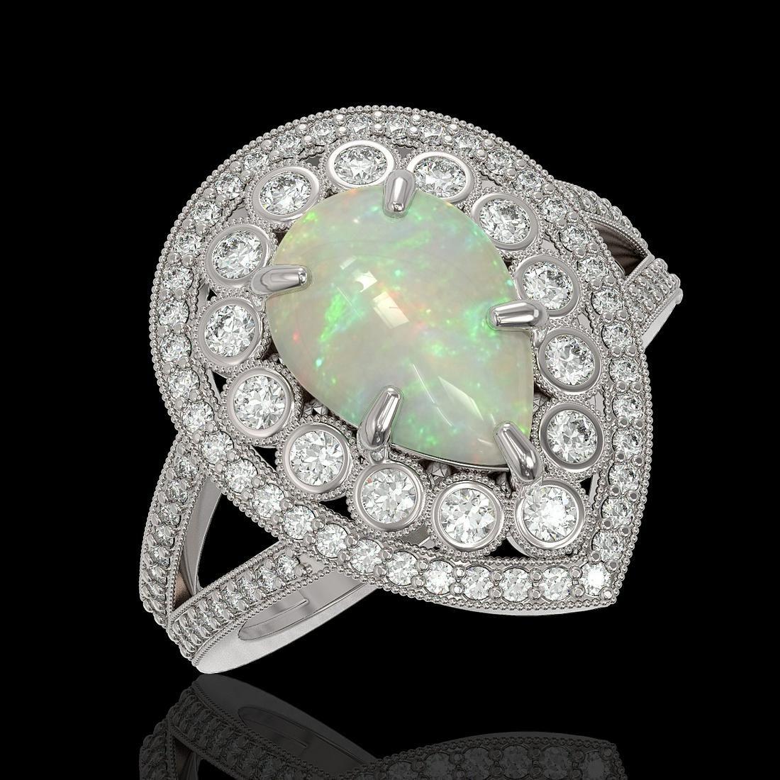 4.19 ctw Certified Opal & Diamond Victorian Ring 14K