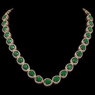 64.01 ctw Emerald & Diamond Micro Pave Halo Necklace