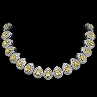 103.62 ctw Canary Citrine & Diamond Victorian Necklace