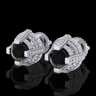 2.75 ctw Fancy Black Diamond Micro Pave Stud Earrings