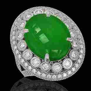 9.27 ctw Jade & Diamond Victorian Ring 14K White Gold -