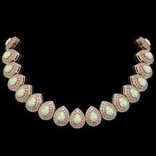 100.62 ctw Certified Opal & Diamond Victorian Necklace