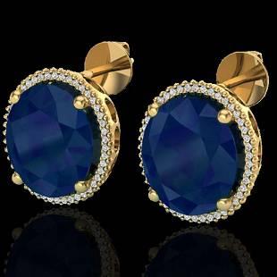 25 ctw Sapphire & Micro Pave VS/SI Diamond Earrings 18k