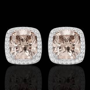 ctw Morganite & Micro Pave VS/SI Diamond Earrings 18k