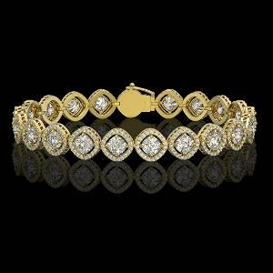 13.06 ctw Cushion Cut Diamond Micro Pave Bracelet 18K