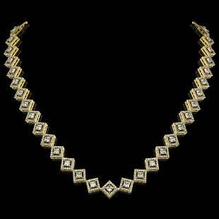 16.4 ctw Princess Cut Diamond Micro Pave Necklace 18K