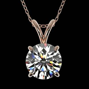1.29 ctw Certified Quality Diamond Necklace 10k Rose