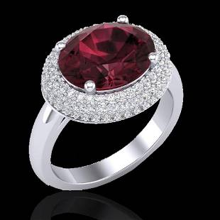 4.50 ctw Garnet & Micro Pave VS/SI Diamond Ring 18k