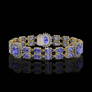 17.83 ctw Tanzanite & Diamond Bracelet 14K Yellow Gold