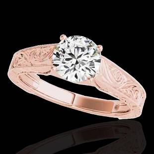 1 ctw Certified Diamond Solitaire Ring 10k Rose Gold -