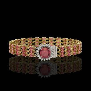 28.56 ctw Tourmaline & Diamond Bracelet 14K Yellow Gold