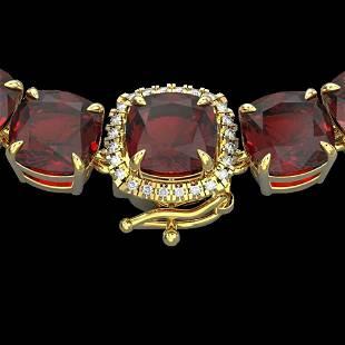 87 ctw Garnet & Diamond Micro Pave Necklace 14k Yellow