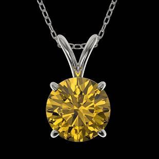 1.25 ctw Certified Intense Yellow Diamond Necklace 10k