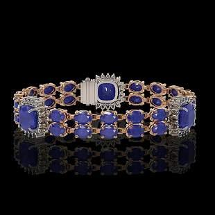 21.83 ctw Sapphire & Diamond Bracelet 14K Rose Gold -