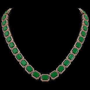 84.94 ctw Emerald & Diamond Micro Pave Halo Necklace