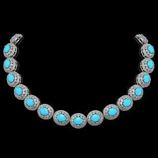 86.75 ctw Turquoise & Diamond Victorian Necklace 14K