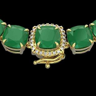 116 ctw Emerald & VS/SI Diamond Halo Micro Necklace 14k