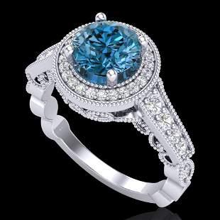 1.91 ctw Fancy Intense Blue Diamond Art Deco Ring 18k