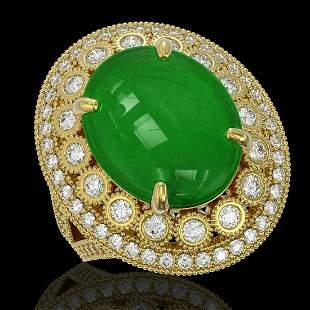 9.27 ctw Jade & Diamond Victorian Ring 14K Yellow Gold