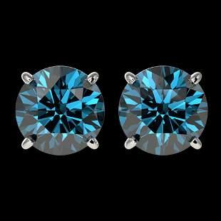 2.50 ctw Certified Intense Blue Diamond Stud Earrings