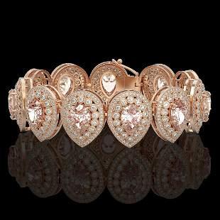 47.64 ctw Morganite & Diamond Victorian Bracelet 14K
