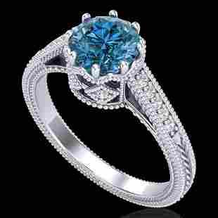 1.25 ctw Fancy Intense Blue Diamond Art Deco Ring 18k