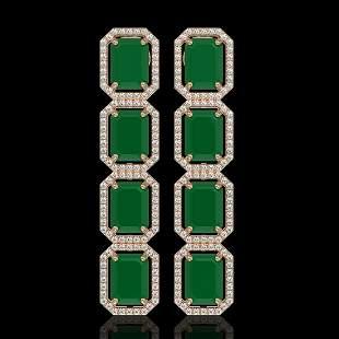 20.59 ctw Emerald & Diamond Micro Pave Halo Earrings