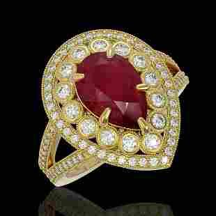 5.12 ctw Certified Ruby & Diamond Victorian Ring 14K