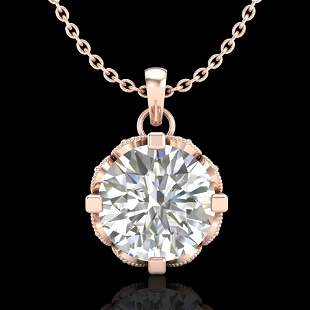 1.5 ctw VS/SI Diamond Solitaire Art Deco Stud Necklace