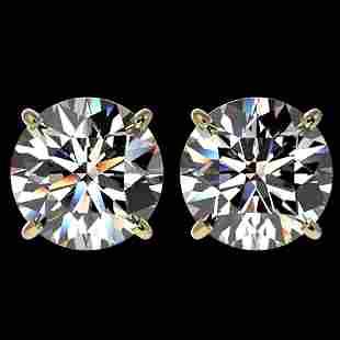 4.04 ctw Certified Diamond Stud Earrings 10k Yellow