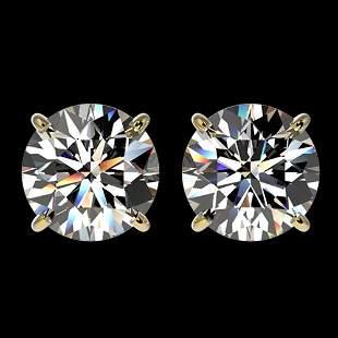 3.05 ctw Certified Diamond Stud Earrings 10k Yellow