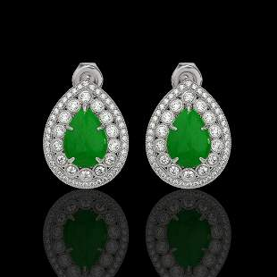 7.74 ctw Jade & Diamond Victorian Earrings 14K White