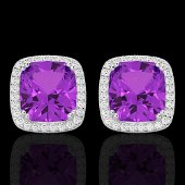 6 ctw Amethyst & Micro Pave VS/SI Diamond Halo Earrings