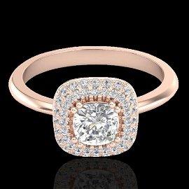 1.16 ctw Micro SI Cushion Diamond Engagment Ring Halo
