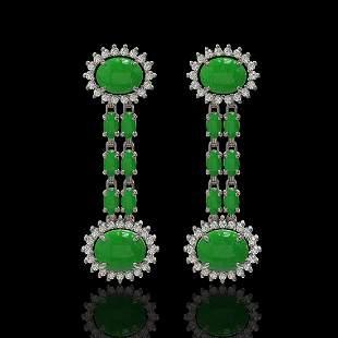 8.07 ctw Jade & Diamond Earrings 14K White Gold -