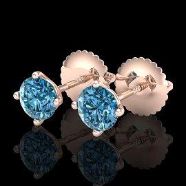 0.65 ctw Fancy Intense Blue Diamond Art Deco Earrings