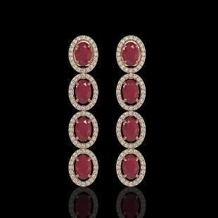 6.47 ctw Ruby & Diamond Micro Pave Halo Earrings 10k