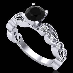1.01 ctw Fancy Black Diamond Engagment Art Deco Ring