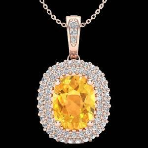 3 ctw Citrine & Micro Pave VS/SI Diamond Necklace 14K