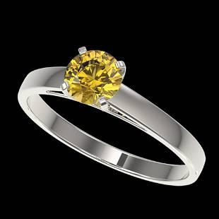 0.74 ctw Certified Intense Yellow Diamond Engagment