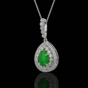 4.07 ctw Jade & Diamond Victorian Necklace 14K White