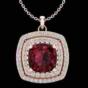 2.27 ctw Garnet & Micro Pave VS/SI Diamond Necklace 14K