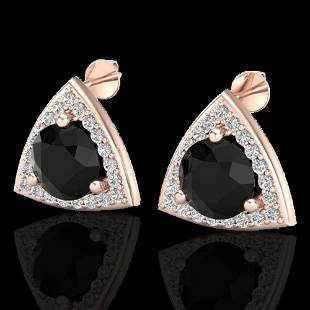 3.50 ctw Micro Pave Black Diamond Stud Earrings 14k